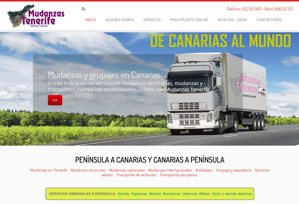Diseño de la nueva Web de Mudanzas Tenerife
